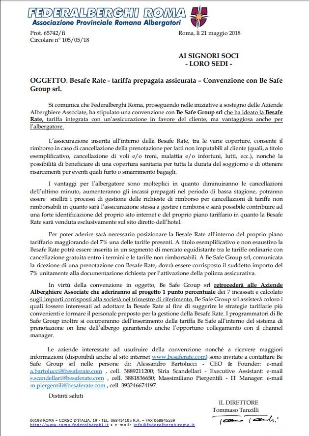Federalberghi Roma e BeSafe Rate
