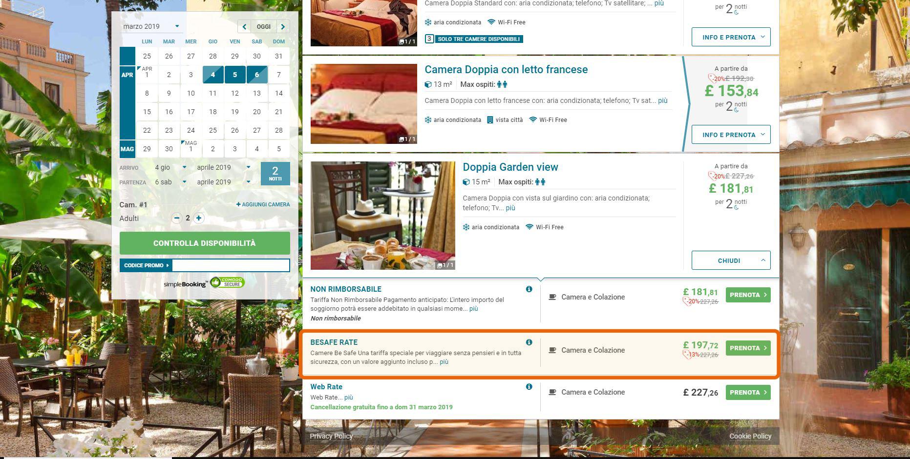 Hotel Astoria esempio tariffa tra la standard e la NR classica