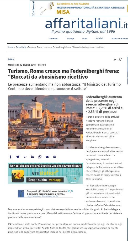 BeSafe Rate Affaritaliani.it